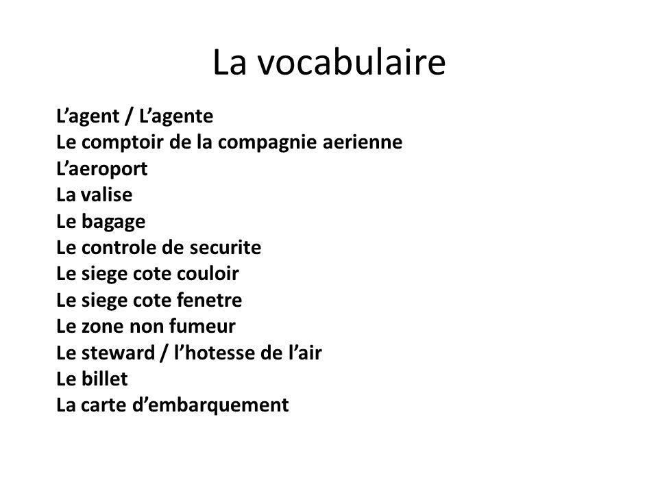 La vocabulaire Lagent / Lagente Le comptoir de la compagnie aerienne Laeroport La valise Le bagage Le controle de securite Le siege cote couloir Le si