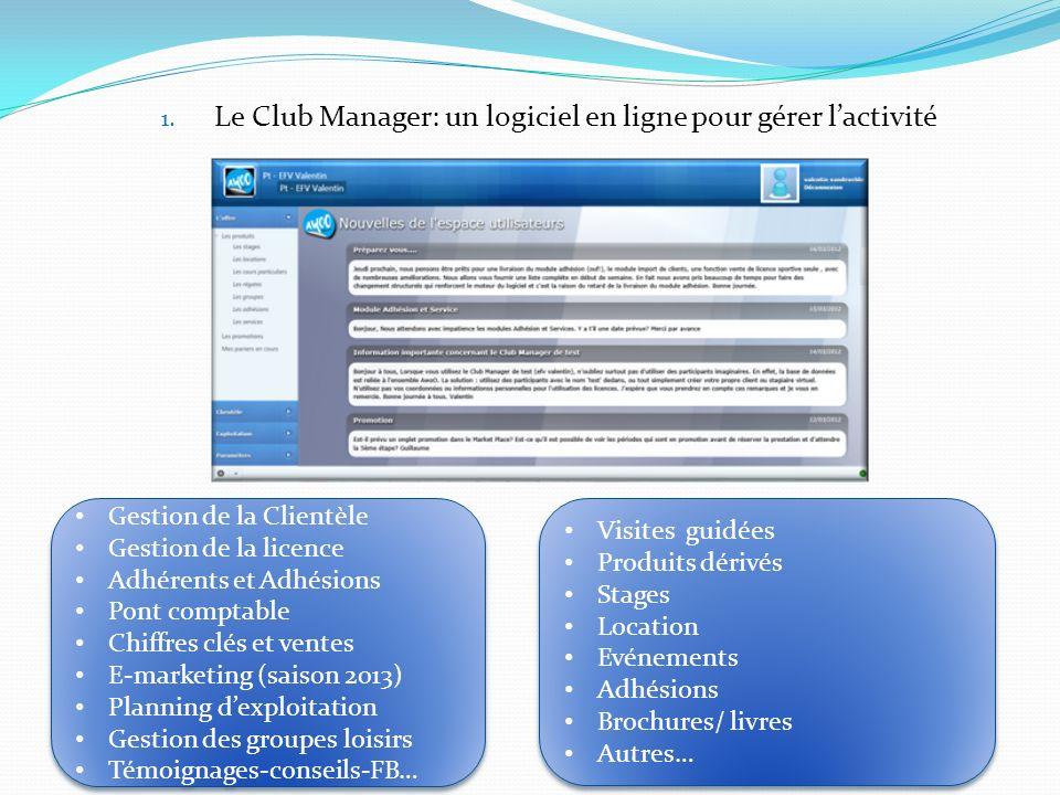 1. Le Club Manager: un logiciel en ligne pour gérer lactivité Gestion de la Clientèle Gestion de la licence Adhérents et Adhésions Pont comptable Chif