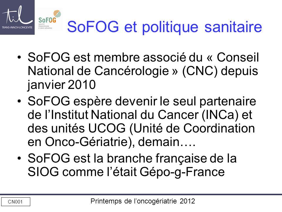 CN001 Printemps de loncogériatrie 2012 SoFOG et politique sanitaire SoFOG est membre associé du « Conseil National de Cancérologie » (CNC) depuis janv