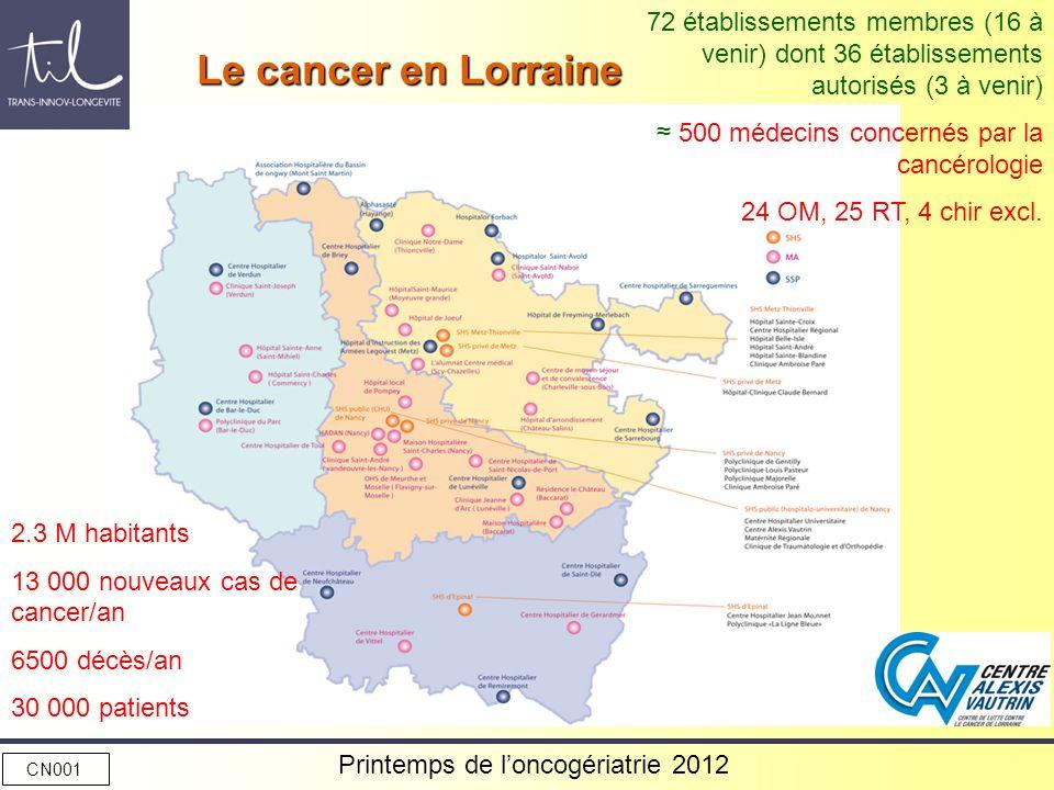 2.3 M habitants 13 000 nouveaux cas de cancer/an 6500 décès/an 30 000 patients 72 établissements membres (16 à venir) dont 36 établissements autorisés