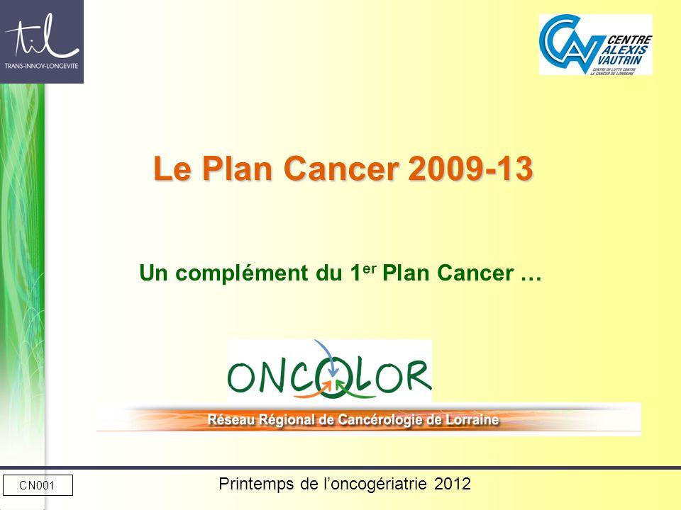 Printemps de loncogériatrie 2012 Le Plan Cancer 2009-13 Un complément du 1 er Plan Cancer … CN001