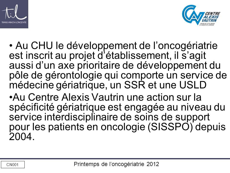 CN001 Printemps de loncogériatrie 2012 Au CHU le développement de loncogériatrie est inscrit au projet détablissement, il sagit aussi dun axe priorita