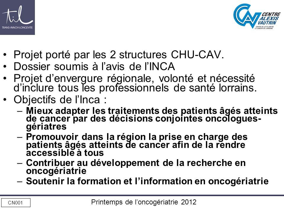 Printemps de loncogériatrie 2012 Projet porté par les 2 structures CHU-CAV. Dossier soumis à lavis de lINCA Projet denvergure régionale, volonté et né