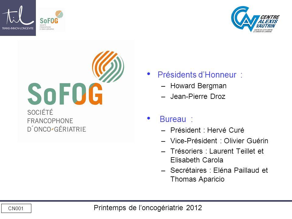 CN001 Printemps de loncogériatrie 2012 Présidents dHonneur : –Howard Bergman –Jean-Pierre Droz Bureau : –Président : Hervé Curé –Vice-Président : Oliv