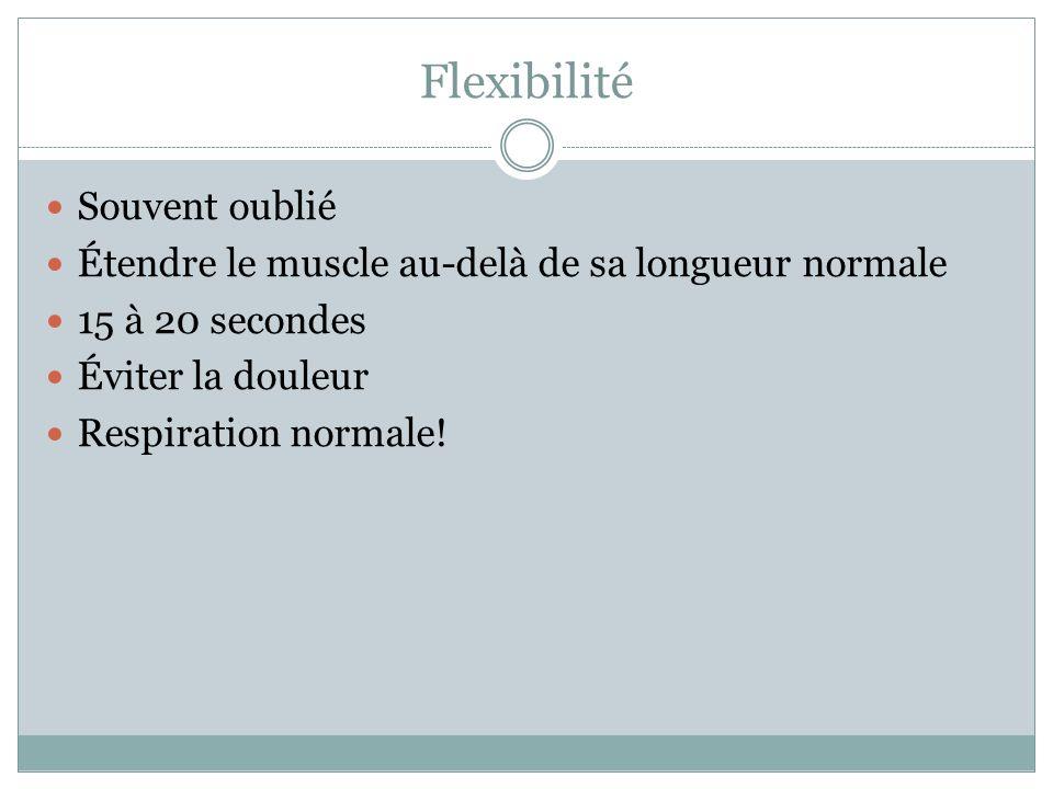 Flexibilité Souvent oublié Étendre le muscle au-delà de sa longueur normale 15 à 20 secondes Éviter la douleur Respiration normale!