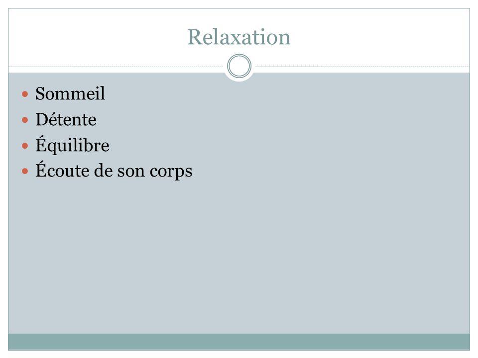 Relaxation Sommeil Détente Équilibre Écoute de son corps