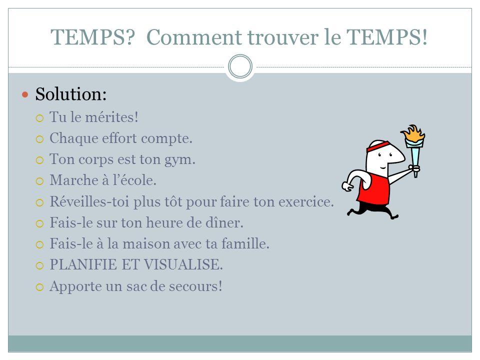 TEMPS.Comment trouver le TEMPS. Solution: Tu le mérites.