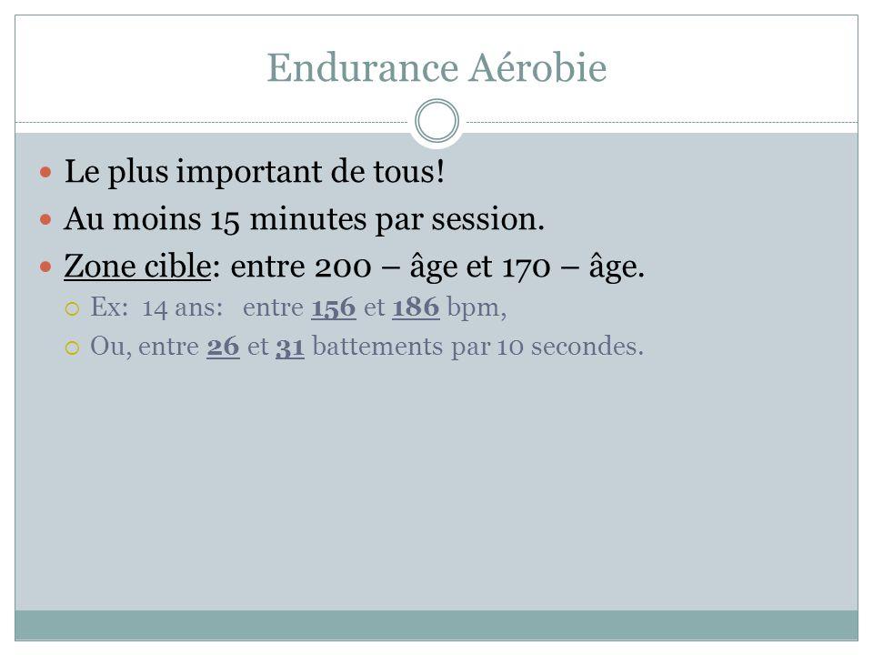 Endurance Aérobie Le plus important de tous.Au moins 15 minutes par session.