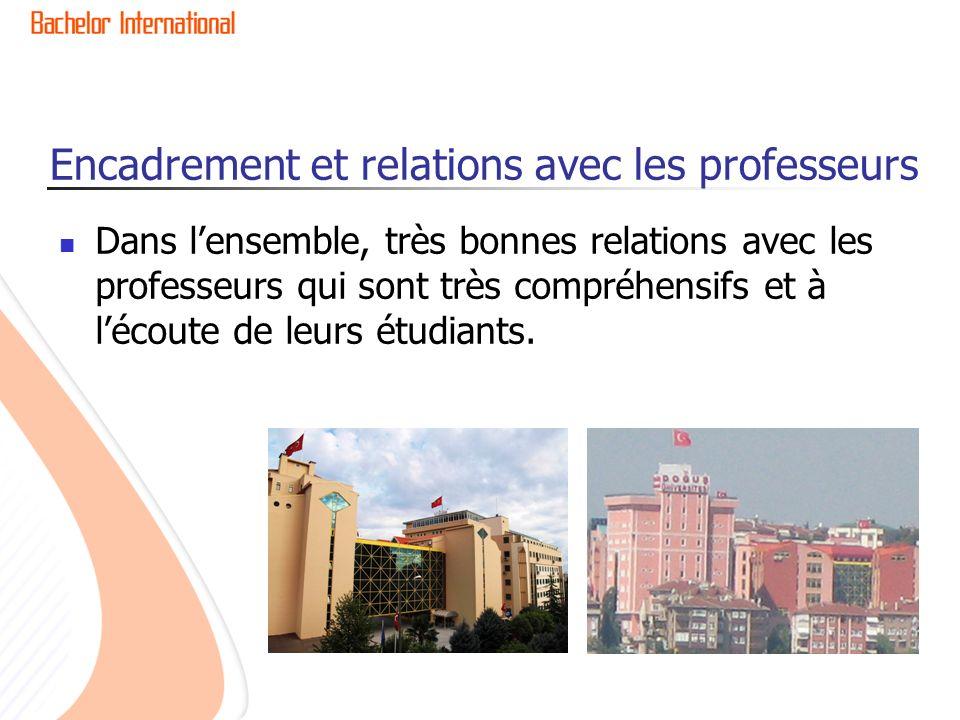 Encadrement et relations avec les professeurs Dans lensemble, très bonnes relations avec les professeurs qui sont très compréhensifs et à lécoute de leurs étudiants.