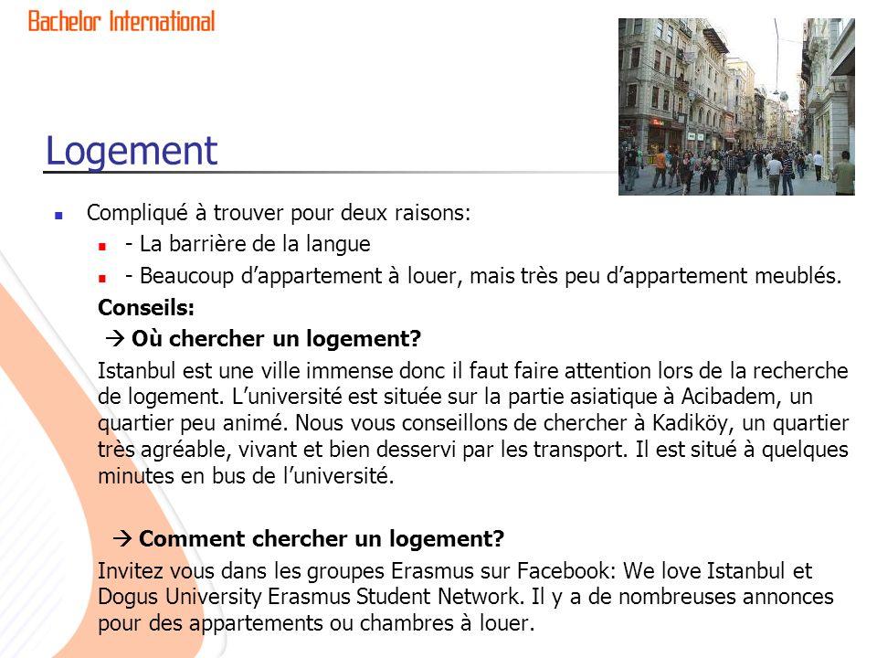 Logement Compliqué à trouver pour deux raisons: - La barrière de la langue - Beaucoup dappartement à louer, mais très peu dappartement meublés.