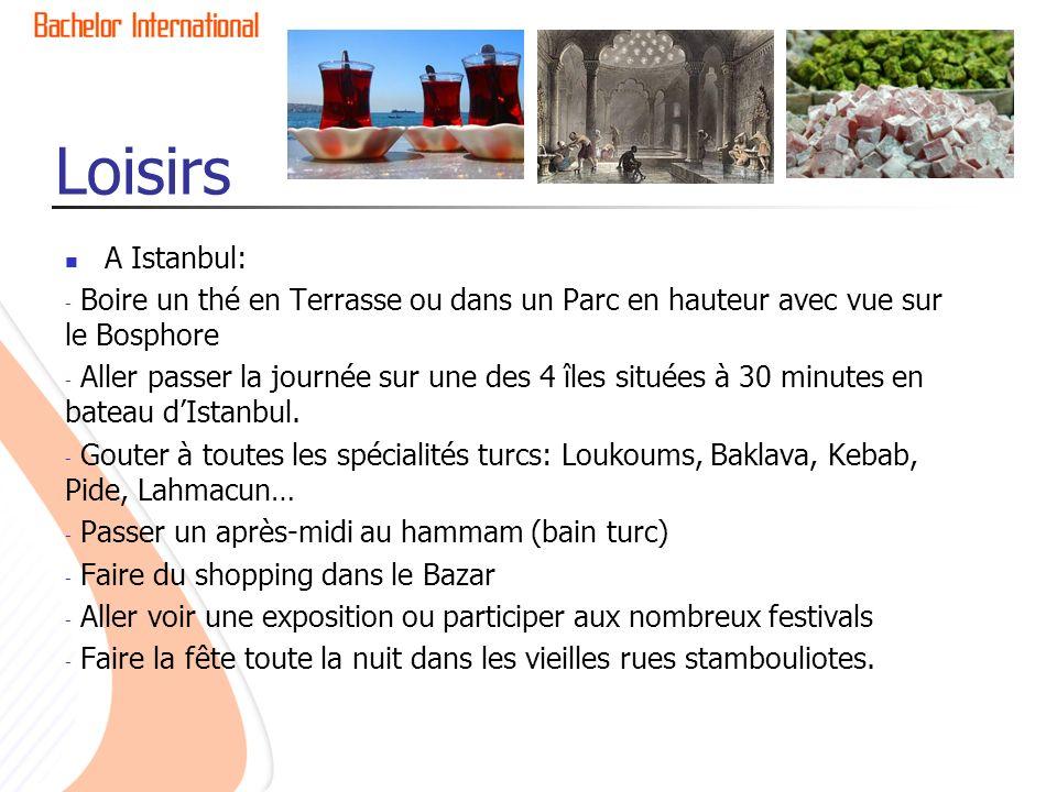 Loisirs A Istanbul: - Boire un thé en Terrasse ou dans un Parc en hauteur avec vue sur le Bosphore - Aller passer la journée sur une des 4 îles situées à 30 minutes en bateau dIstanbul.