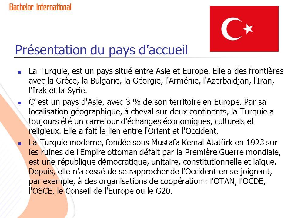 Présentation du pays daccueil La Turquie, est un pays situé entre Asie et Europe.