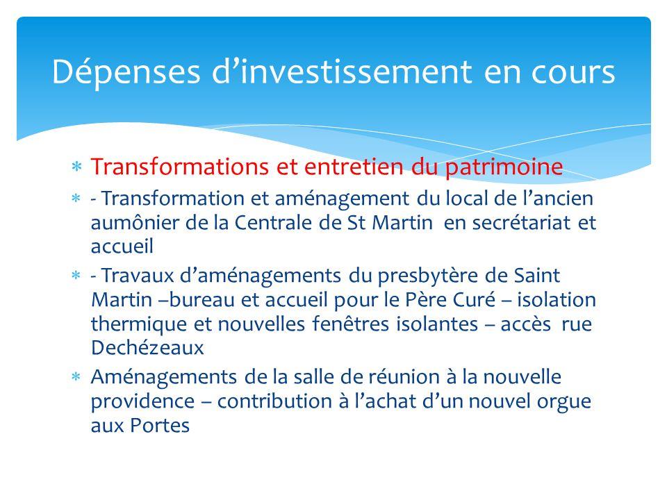 Transformations et entretien du patrimoine - Transformation et aménagement du local de lancien aumônier de la Centrale de St Martin en secrétariat et