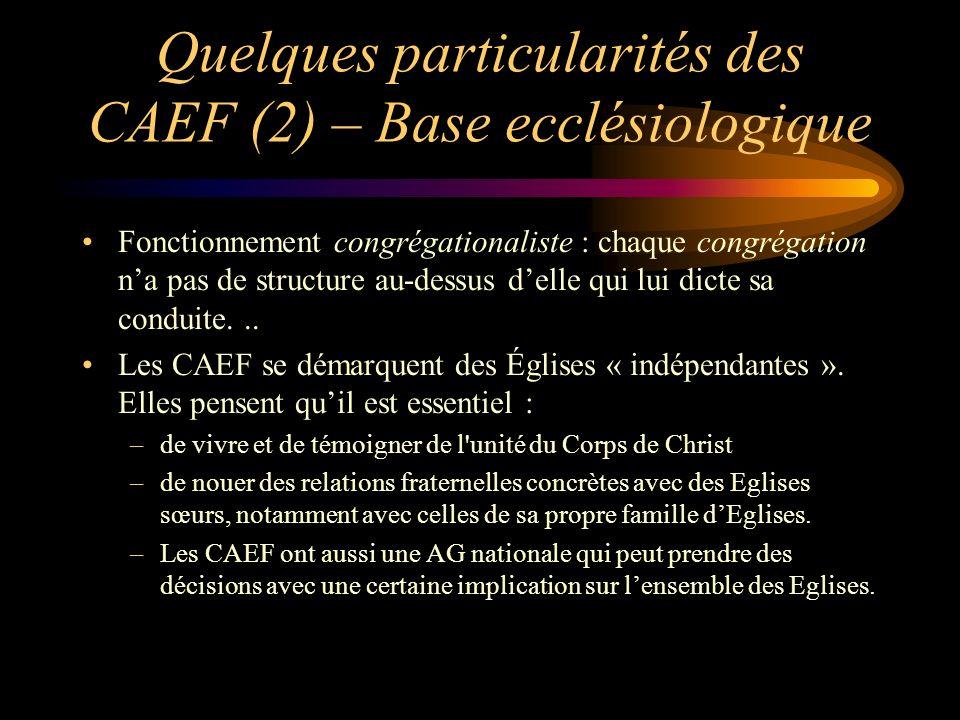 Quelques particularités des CAEF (3) – anciens et pasteurs Les Églises CAEF ont assez souvent des « pasteurs » en leur sein quelle appelle aussi « serviteur », mais ils sont anciens parmi les anciens.