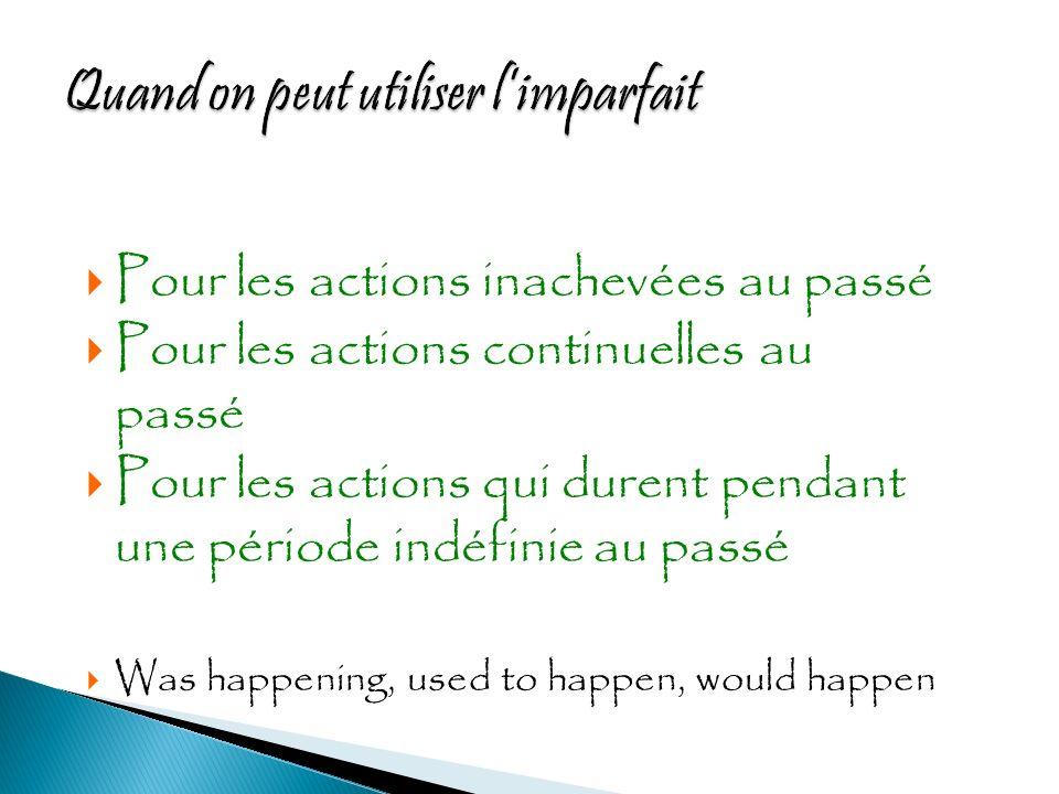 Limparfait est employé avec depuis et une expression de temps pour décrire une action qui a commencé au passé et continue pendant longtemps au passé.