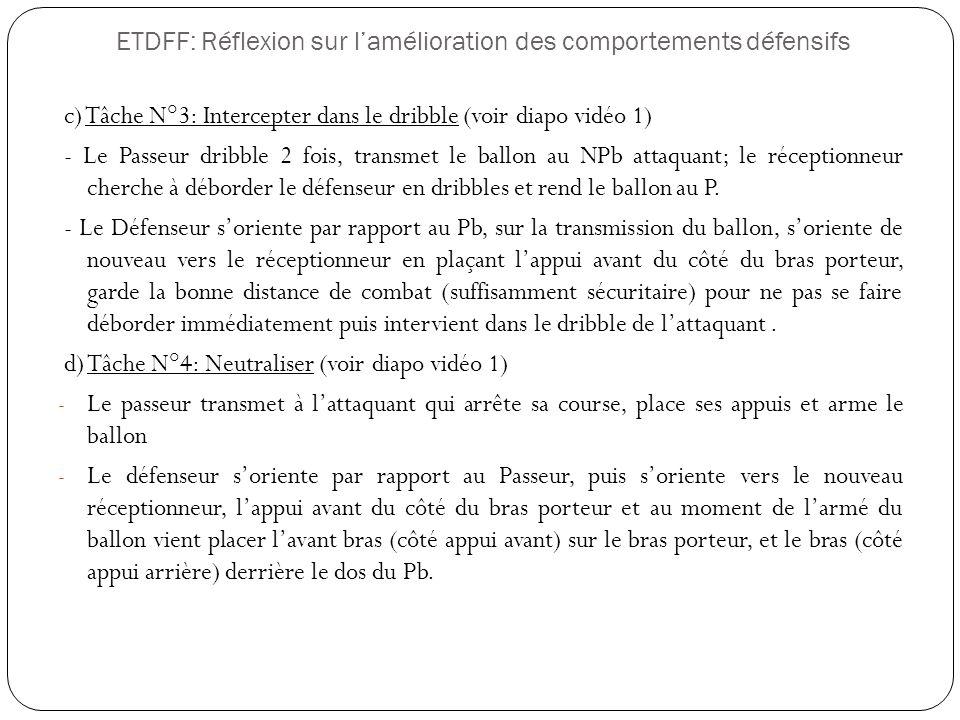 ETDFF: Réflexion sur lamélioration des comportements défensifs c) Tâche N°3: Intercepter dans le dribble (voir diapo vidéo 1) - Le Passeur dribble 2 f