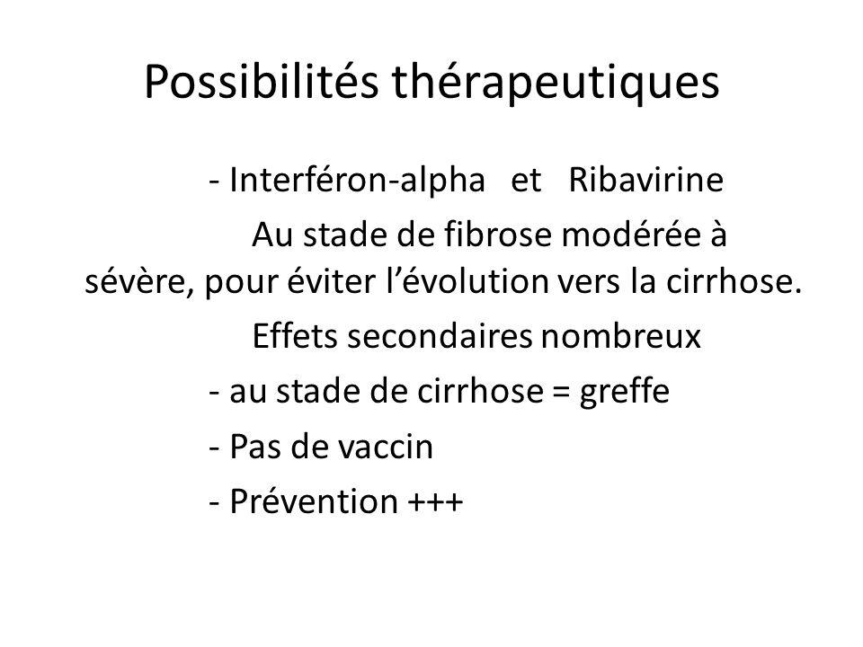 Possibilités thérapeutiques - Interféron-alpha et Ribavirine Au stade de fibrose modérée à sévère, pour éviter lévolution vers la cirrhose. Effets sec