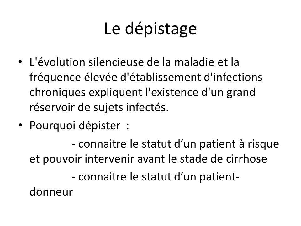 Le dépistage L'évolution silencieuse de la maladie et la fréquence élevée d'établissement d'infections chroniques expliquent l'existence d'un grand ré