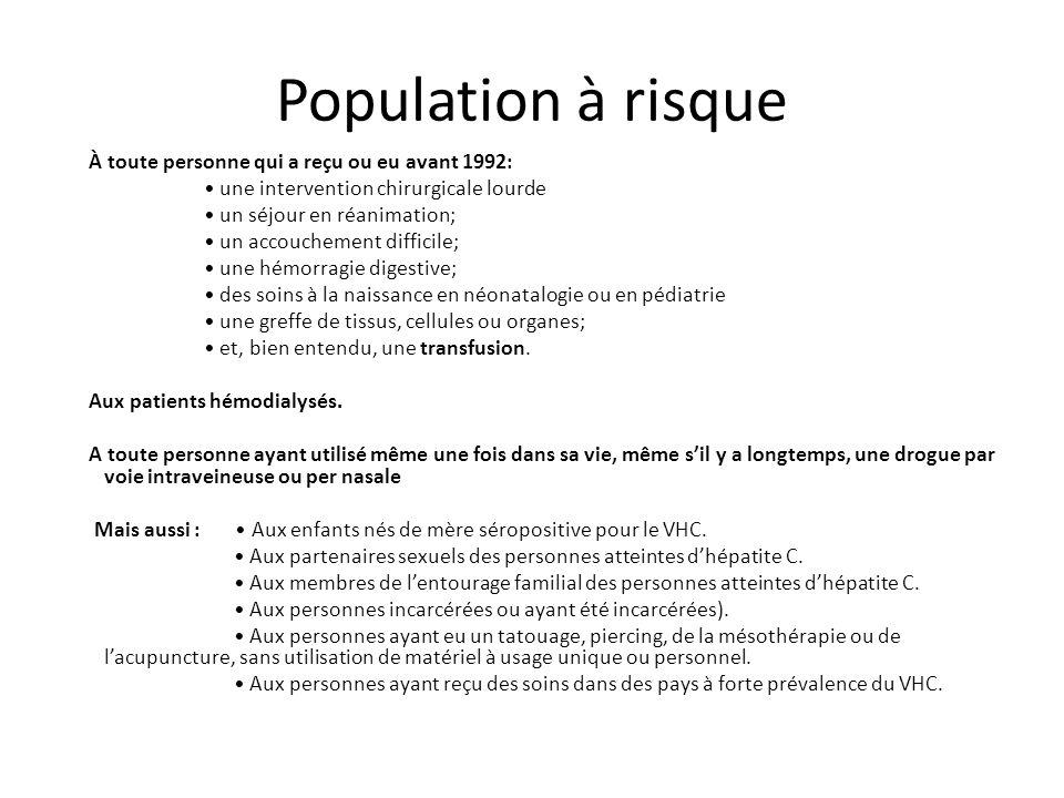 Population à risque À toute personne qui a reçu ou eu avant 1992: une intervention chirurgicale lourde un séjour en réanimation; un accouchement diffi