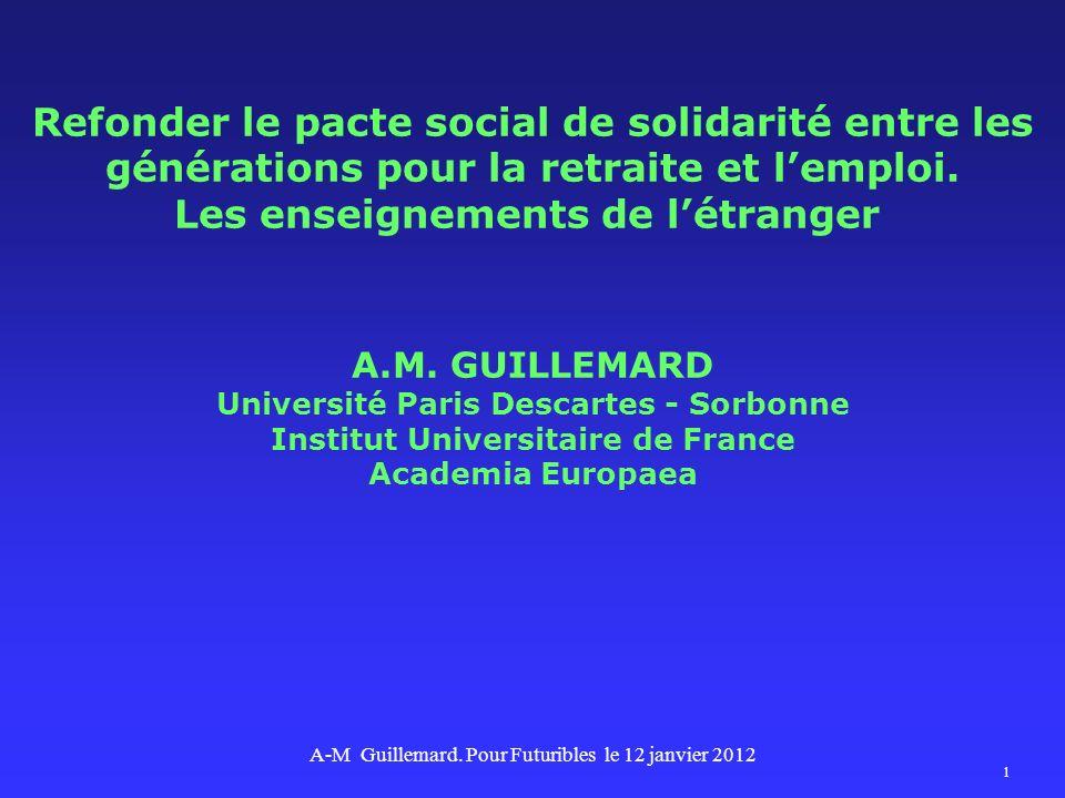 Refonder le pacte social de solidarité entre les générations pour la retraite et lemploi. Les enseignements de létranger A.M. GUILLEMARD Université Pa