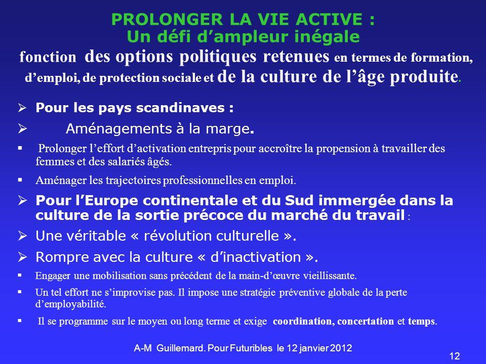 12 PROLONGER LA VIE ACTIVE : Un défi dampleur inégale fonction des options politiques retenues en termes de formation, demploi, de protection sociale et de la culture de lâge produite.