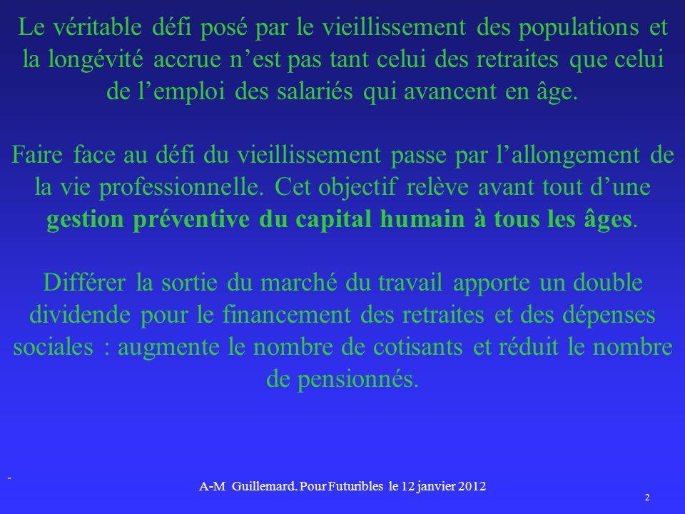 Le véritable défi posé par le vieillissement des populations et la longévité accrue nest pas tant celui des retraites que celui de lemploi des salarié