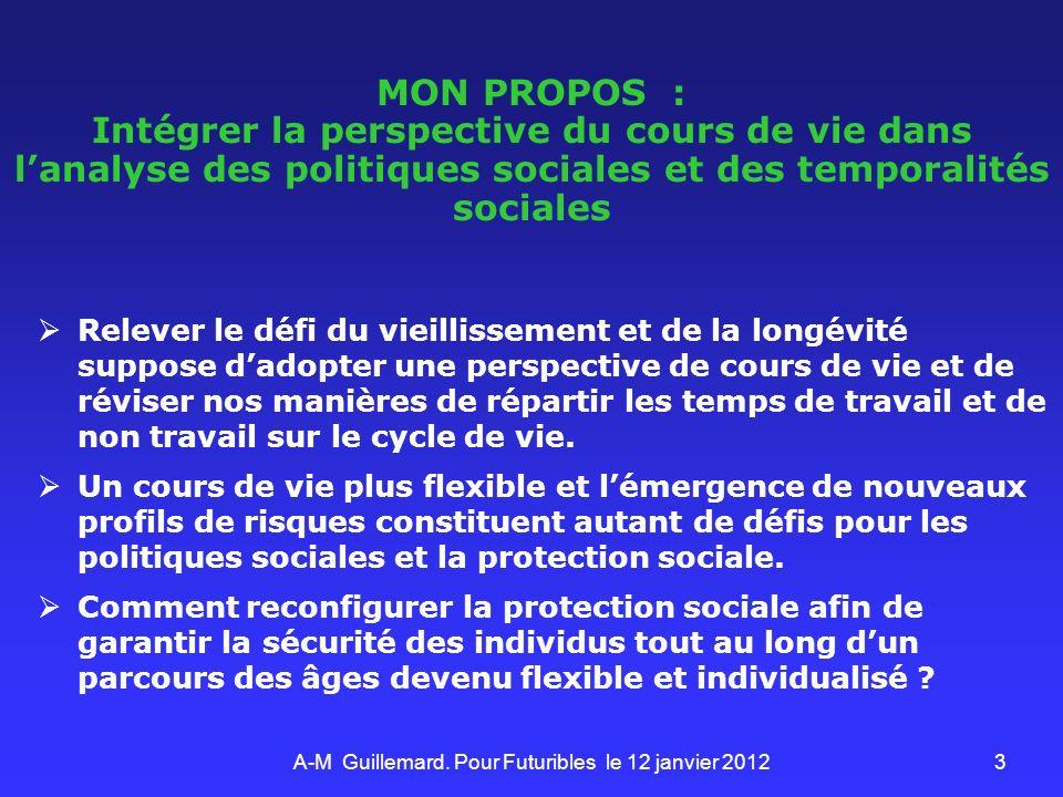 3 MON PROPOS : Intégrer la perspective du cours de vie dans lanalyse des politiques sociales et des temporalités sociales Relever le défi du vieilliss