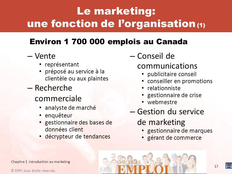 Le marketing: une fonction de lorganisation (1) – Vente représentant préposé au service à la clientèle ou aux plaintes – Recherche commerciale analyst
