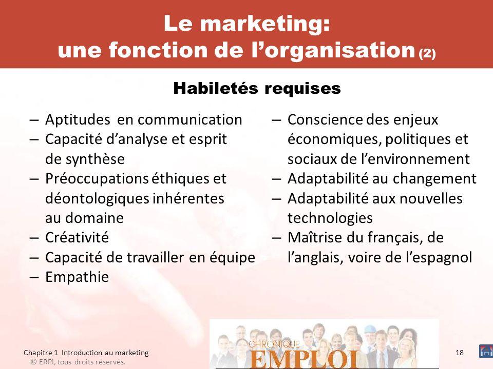 Le marketing: une fonction de lorganisation (2) – Aptitudes en communication – Capacité danalyse et esprit de synthèse – Préoccupations éthiques et dé
