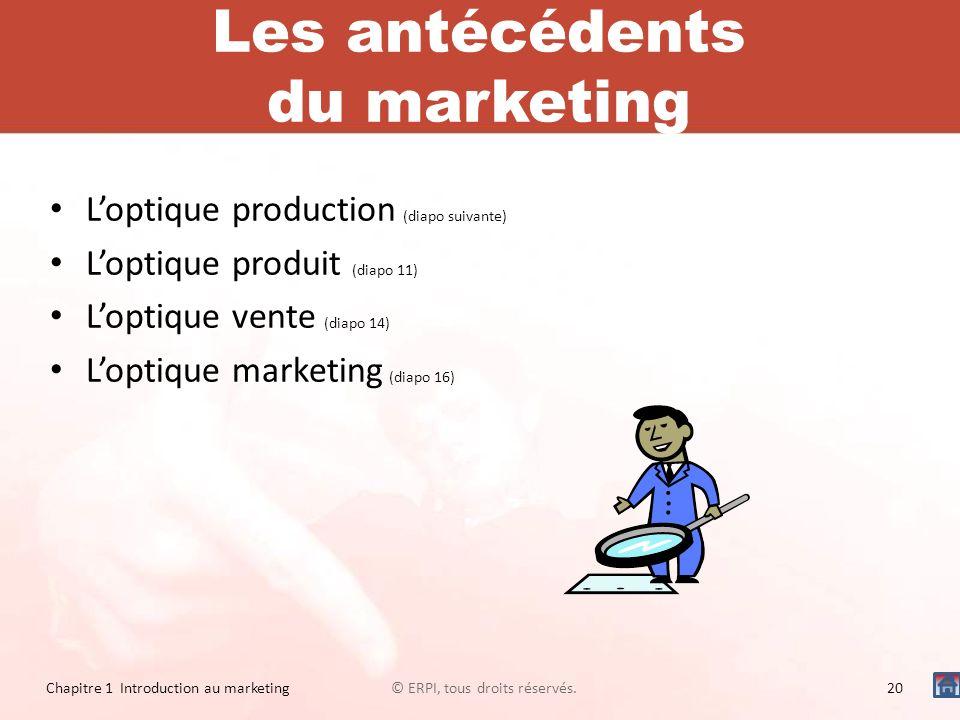 Les antécédents du marketing Loptique production (diapo suivante) Loptique produit (diapo 11) Loptique vente (diapo 14) Loptique marketing (diapo 16)