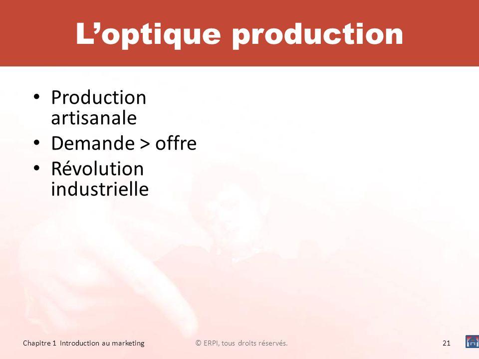 Production artisanale Demande > offre Révolution industrielle © ERPI, tous droits réservés.21 Chapitre 1 Introduction au marketing Loptique production