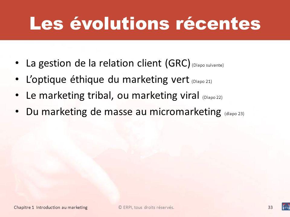 Les évolutions récentes La gestion de la relation client (GRC) (Diapo suivante) Loptique éthique du marketing vert (Diapo 21) Le marketing tribal, ou