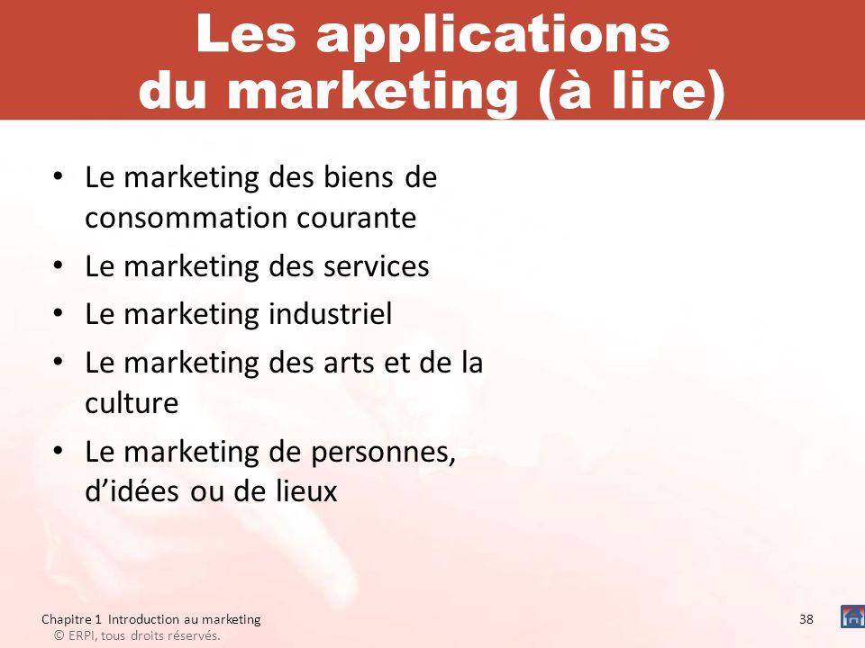 Les applications du marketing (à lire) Le marketing des biens de consommation courante Le marketing des services Le marketing industriel Le marketing