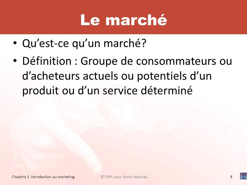 Le marché Quest-ce quun marché? Définition : Groupe de consommateurs ou dacheteurs actuels ou potentiels dun produit ou dun service déterminé © ERPI,