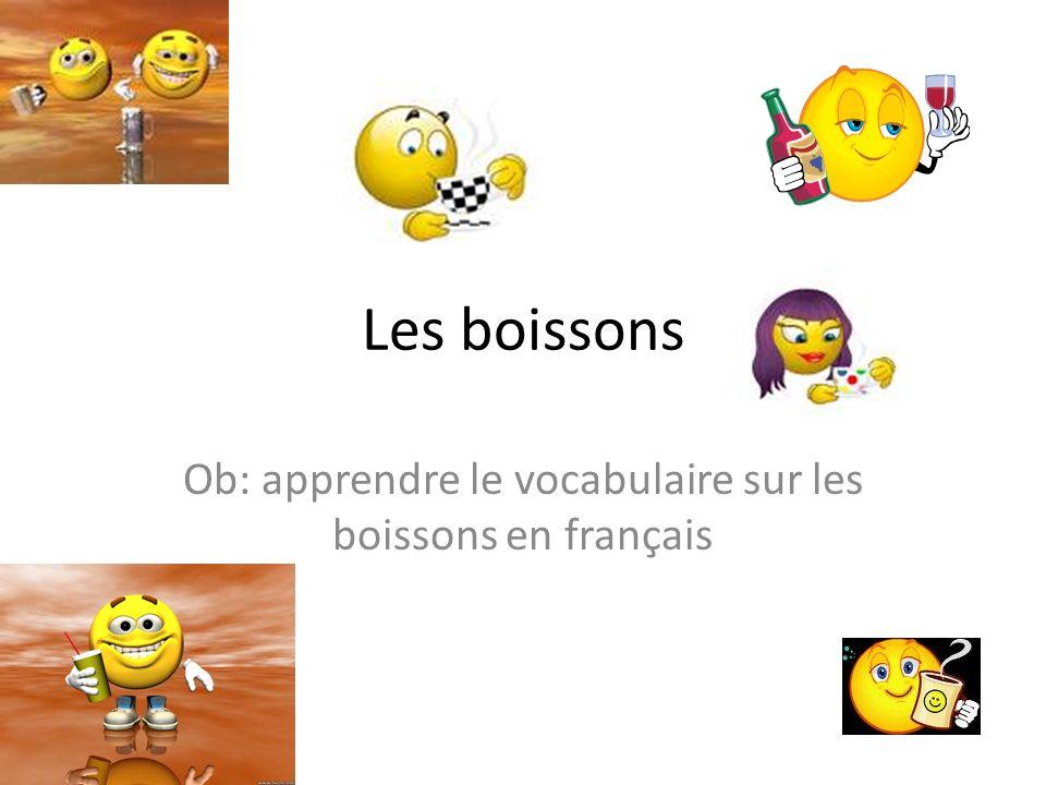 Les boissons Ob: apprendre le vocabulaire sur les boissons en français
