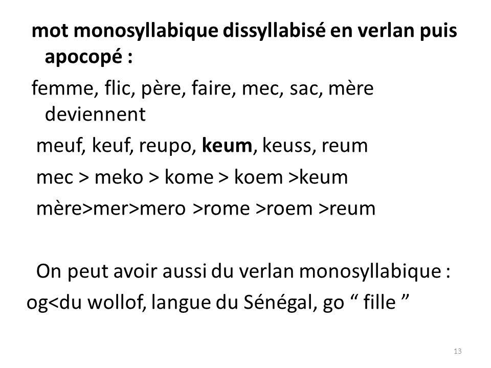 mot monosyllabique dissyllabisé en verlan puis apocopé : femme, flic, père, faire, mec, sac, mère deviennent meuf, keuf, reupo, keum, keuss, reum mec > meko > kome > koem >keum mère>mer>mero >rome >roem >reum On peut avoir aussi du verlan monosyllabique : og<du wollof, langue du Sénégal, go fille 13