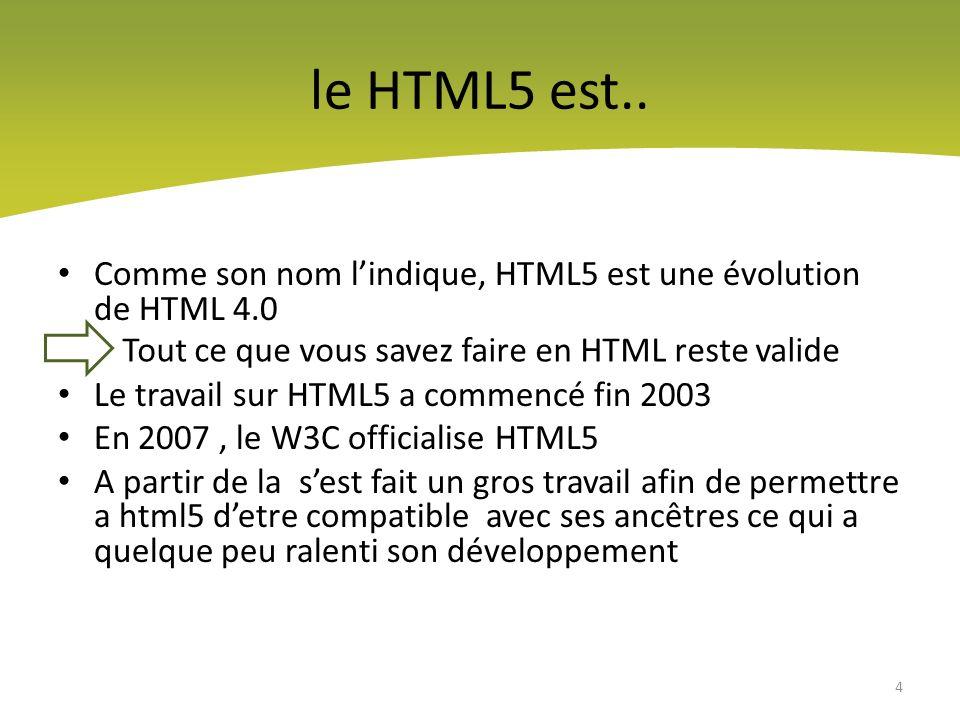 Lambition de HTML5 Supprimer les balises obsolètes Remplacer certaines balises Introduire de nouvelles balises afin de donner une structure sémantique plus cohérente aux pages web 5