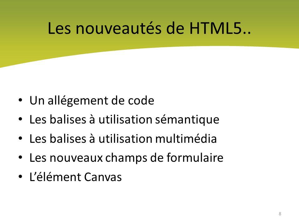 Les balises simplifiées On peut dire que lHTML5 est beaucoup plus léger et laxiste sur lécriture du code HTML 9