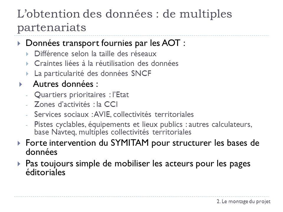 Lobtention des données : de multiples partenariats Données transport fournies par les AOT : Différence selon la taille des réseaux Craintes liées à la