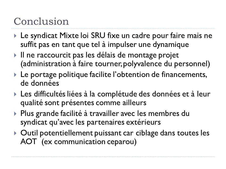 Conclusion Le syndicat Mixte loi SRU fixe un cadre pour faire mais ne suffit pas en tant que tel à impulser une dynamique Il ne raccourcit pas les dél