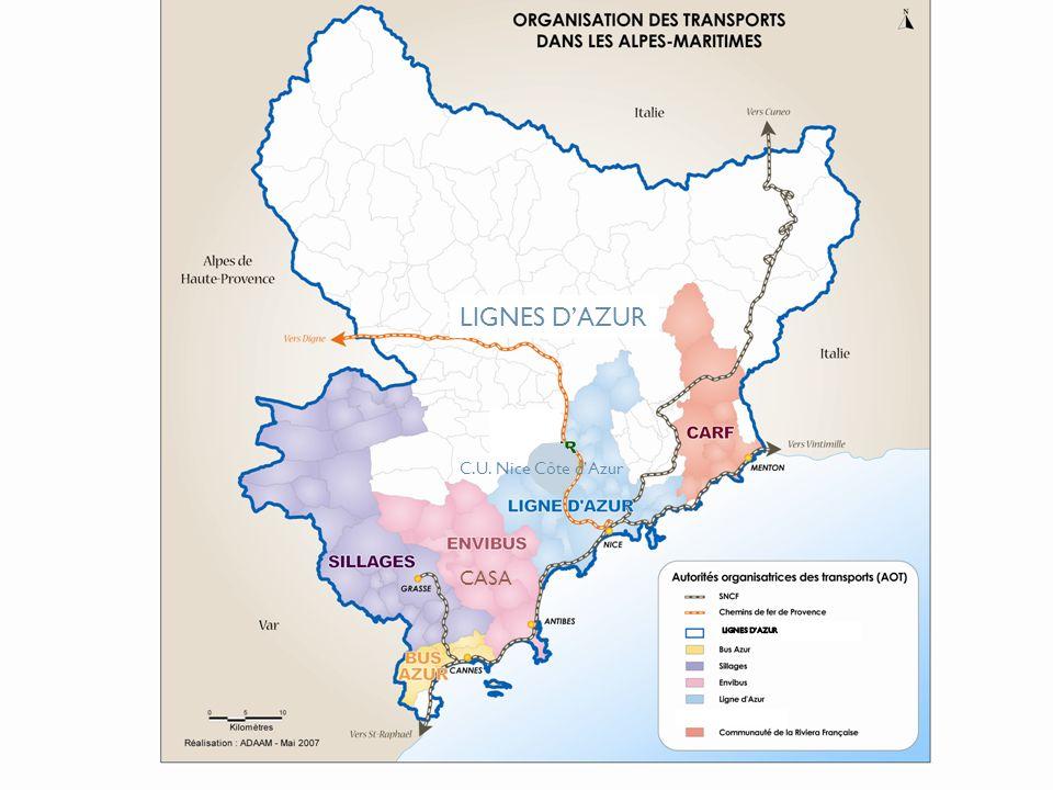 Le département des Alpes-Maritimes en chiffres 1 million dhabitants Des réseaux de tailles très différentes: Lignes dAzur NCA (Nice) : 27 communes, 100 lignes régulières, 500 000 habitants, 56 millions de voyages / an Envibus CASA (Antibes et Sophia Antipolis): 16 communes, 20 lignes régulières, 176 000 habitants, 8,5 millions de voyages/ an Bus Azur SITP (Cannes/ Le Cannet/ Mandelieu) : 3 communes, 31 lignes, 135 000 Habitants, 9,5 millions de voyages Sillages (pays grassois) : 26 communes, 29 lignes régulières, 112 000 habitants, 2,2 millions de voyages CARF : 10 communes, 21 lignes, 66000 habitants, 1,8 millions de voyages / an Lignes dAzur interurbain : 60 lignes régulières, 12 millions de voyages 1.