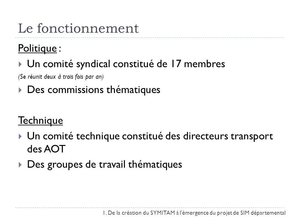 Le fonctionnement Politique : Un comité syndical constitué de 17 membres (Se réunit deux à trois fois par an) Des commissions thématiques Technique Un