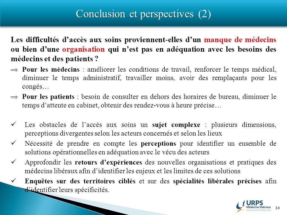 34 Conclusion et perspectives Conclusion et perspectives (2) Les difficultés daccès aux soins proviennent-elles dun manque de médecins ou bien dune or