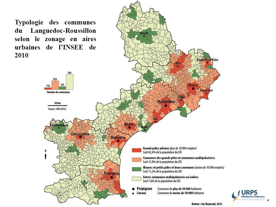 4 Typologie des communes du Languedoc-Roussillon selon le zonage en aires urbaines de lINSEE de 2010