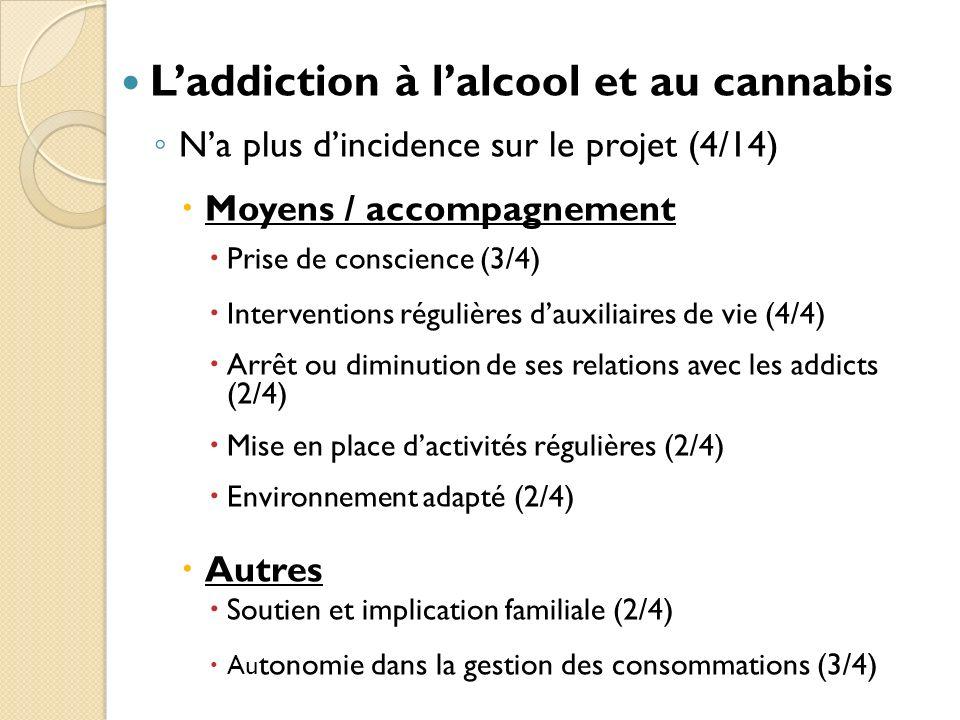 Laddiction à lalcool et au cannabis Na plus dincidence sur le projet (4/14) Moyens / accompagnement Prise de conscience (3/4) Interventions régulières dauxiliaires de vie (4/4) Arrêt ou diminution de ses relations avec les addicts (2/4) Mise en place dactivités régulières (2/4) Environnement adapté (2/4) Autres Soutien et implication familiale (2/4) Au tonomie dans la gestion des consommations (3/4)