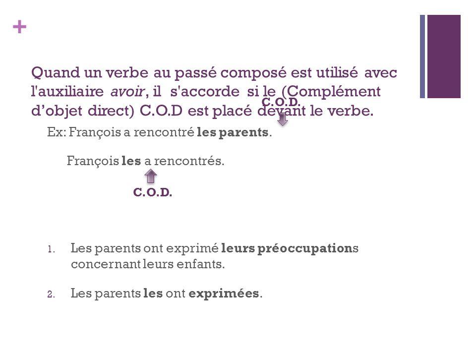 + Quand un verbe au passé composé est utilisé avec l'auxiliaire avoir, il s'accorde si le (Complément dobjet direct) C.O.D est placé devant le verbe.