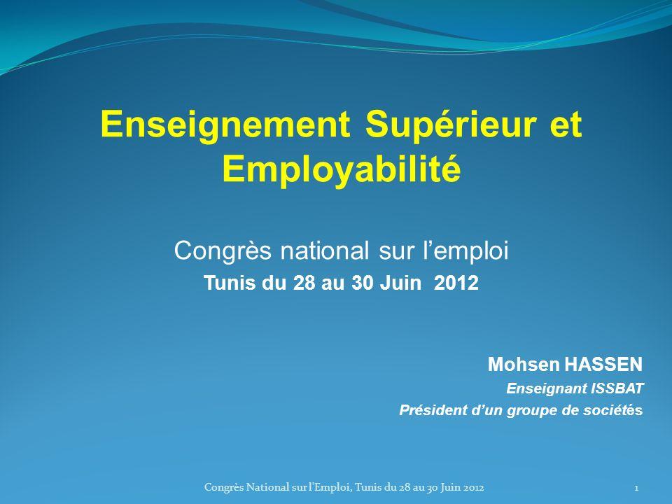 Enseignement Supérieur et Employabilité Congrès national sur lemploi Tunis du 28 au 30 Juin 2012 Mohsen HASSEN Enseignant ISSBAT Président dun groupe de sociétés 1Congrès National sur l Emploi, Tunis du 28 au 30 Juin 2012