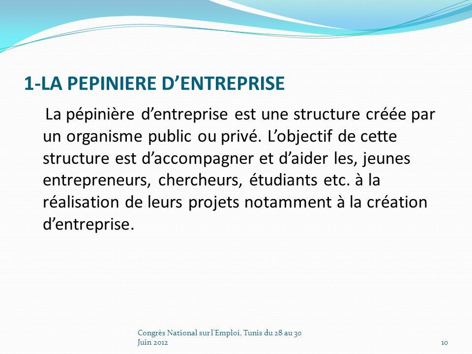 1-LA PEPINIERE DENTREPRISE La pépinière dentreprise est une structure créée par un organisme public ou privé.