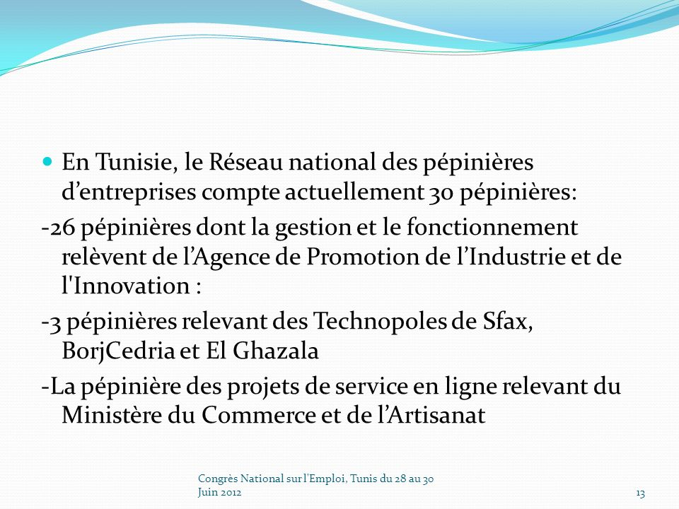 En Tunisie, le Réseau national des pépinières dentreprises compte actuellement 30 pépinières: -26 pépinières dont la gestion et le fonctionnement relèvent de lAgence de Promotion de lIndustrie et de l Innovation : -3 pépinières relevant des Technopoles de Sfax, BorjCedria et El Ghazala -La pépinière des projets de service en ligne relevant du Ministère du Commerce et de lArtisanat Congrès National sur l Emploi, Tunis du 28 au 30 Juin 201213
