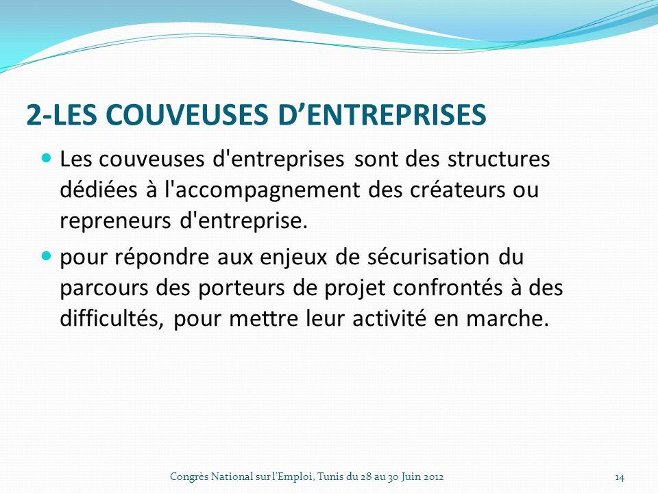 2-LES COUVEUSES DENTREPRISES Les couveuses d entreprises sont des structures dédiées à l accompagnement des créateurs ou repreneurs d entreprise.
